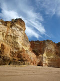 Colorful rock cliffs of the Algarve Royalty Free Stock Photos