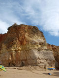 Colorful rock cliffs of the Algarve Stock Photography