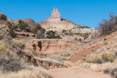The colorful rock formation of Church Rock in New Mexico. Near Gallup, New Mexico royalty free stock photos