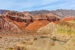 Colorful rock formations in the Quebrada de las Conchas, Argenti Stock Image