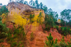Colorful rock formations in Roussillon, Provence, France Royalty Free Stock Photo