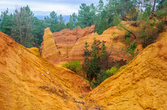 Colorful rock formations in Roussillon, Provence, France Stock Images