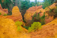 Colorful rock formations in Roussillon, Provence, France Royalty Free Stock Image