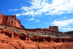 Colorful rock and sandstone formations in Capitol Reef National park. Wonderful rock formations in Capitol Reef National Park, Colorado Plateau, Waterpocket-Fold royalty free stock photos