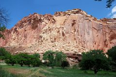 Colorful rock and sandstone formations in Capitol Reef National park. Wonderful rock formations in Capitol Reef National Park, Colorado Plateau, Waterpocket-Fold royalty free stock photo