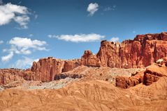 Colorful rock and sandstone formations in Capitol Reef National park. Wonderful rock formations in Capitol Reef National Park, Colorado Plateau, Waterpocket-Fold royalty free stock photography