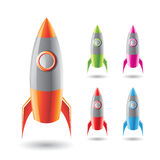 Colorful Rockets with Grey Bodies Stock Image