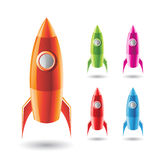 Colorful Rockets Icons Stock Image