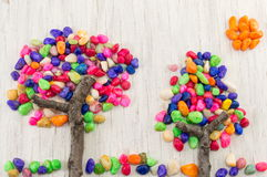 Colorful rocks forming a tree shape Royalty Free Stock Images