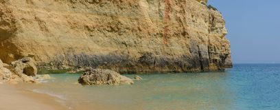 Colorful rocks on ocean, panorama Royalty Free Stock Images
