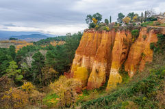 Colorful rocks in Roussillon, Provence, France Royalty Free Stock Photo
