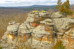 Colorful Rocks in the Wilderness. In Garden of the Gods in Shawnee National Forest in Illinois Royalty Free Stock Photos