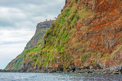 Colorful rocky cliff coast of Madeira Stock Images