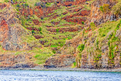 Colorful rocky cliff coast of Madeira Stock Photos