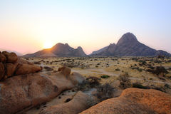 Colorful rocky landscape in Spitzkoppe Namibia Royalty Free Stock Photos