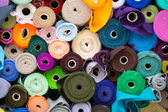 Colorful roll of Fabrics. Many Colorful roll of Fabrics sale in Thailand royalty free stock photography