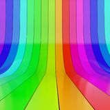 Colorful rolled up glossy plastic stripes. Abstract colorful rolled up glossy plastic stripes studio background. 3D rendering Royalty Free Stock Photography