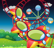 The colorful roller coaster. Illustration of the colorful roller coaster stock illustration