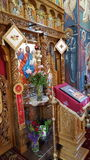 Colorful Romanian church. Inside look from an ortodox romanian church. Original photography! No edit, no filter Royalty Free Stock Images