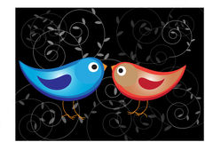 Colorful romantic birds background Stock Photo
