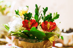 Colorful romantic bouquet of roses, orchids and lily of the Inca Stock Photo