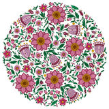 Colorful romantic round pattern with  flowers. Stock Images
