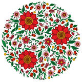 Colorful romantic round pattern with flowers. Stock Photo