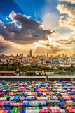 Colorful roof at the popular market. Popular market in Bangkok of Thailand stock photography