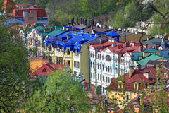 Colorful roofs of the houses in Kiev Royalty Free Stock Photos