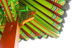Colorful rooftop element of traditional korean building - Seoul, South Korea. Colorful roof element of traditional korean building - Seoul, South Korea royalty free stock photos