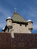 Colorful rooftop tiles on a castle in France Stock Photography