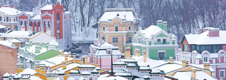 Colorful rooftops covered with snow Royalty Free Stock Images