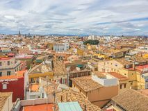 Colorful rooftops panoramic skyline of valencia city spain. Colorful rooftops panoramic skyline of valencia a big spanish city in spain stock image