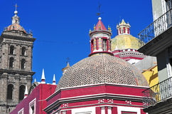 Colorful rooftops in Puebla Mexico Stock Images