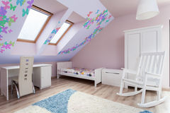 Colorful room in the attic Stock Images