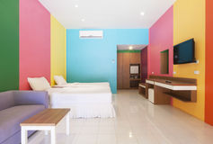 Colorful room. In resort on Kohlan, Pattaya, Thailand stock photo