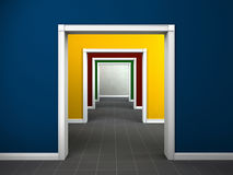 Colorful rooms interior. Interior image showing the passage through multicolored rooms stock photo
