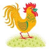 Colorful rooster on grass. Colorful rooster on green grass stock illustration