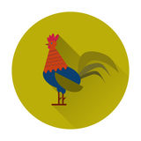 Colorful Rooster Icon Vector Flat Style Illustration. For prints, covers, posters, cards, gift design. Happy 2017 Chinese New Year card stock illustration