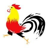 Colorful Rooster. Illustration on white backgroud stock illustration