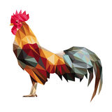 Colorful rooster low polygon standing. (vector Stock Illustration