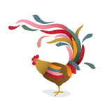 Colorful rooster. Symbol of 2017. Stock Images