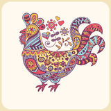 Colorful roosters in ornate ethnic style. Royalty Free Stock Photography