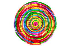 Colorful rope circle on white background. Colorful rope from mulberry paper Royalty Free Stock Images