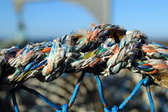 Colorful rope. Detail of the lobster net made with colorful rope Royalty Free Stock Photography