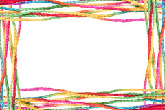 Colorful rope frame. Isolated on white background Stock Images