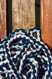 Colorful rope on sailing boat. Closeup photo Stock Photo