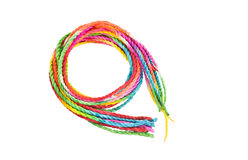 Colorful rope on white background. Colorful rainbow  rope on white background Stock Images