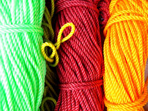 Colorful Ropes. Close up colorful nylon ropes for domestic purpose Royalty Free Stock Photography