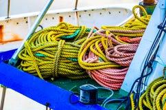 Colorful ropes on Icelandic fishing ship Royalty Free Stock Photography